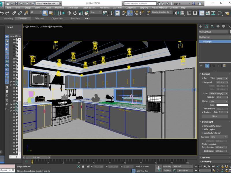 Cocina 3D Visualización Arquitectónica